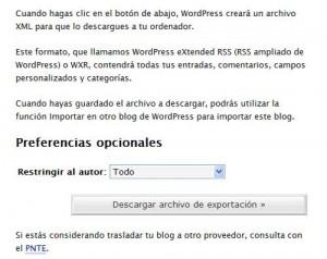 Figura 1 - Exportar un blog