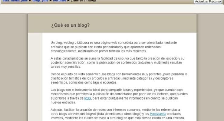 Curso sobre la plataforma Multiblog en Moodle