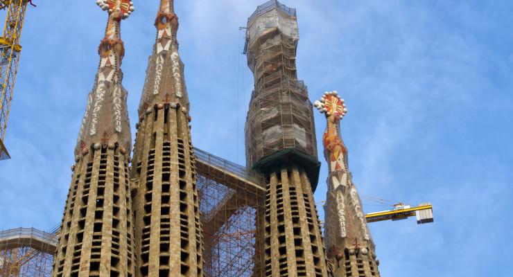 Detalle de la Sagrada Familia en construcción, Barcelona, por Ricard Gabarrús, en Flickr
