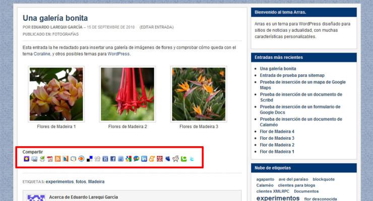 Figura 3 - Barra de iconos de marcadores sociales, al final de una entrada de un blog