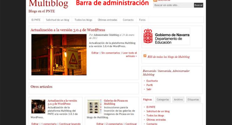 Figura 2 - La barra de administración en el frontend del blog