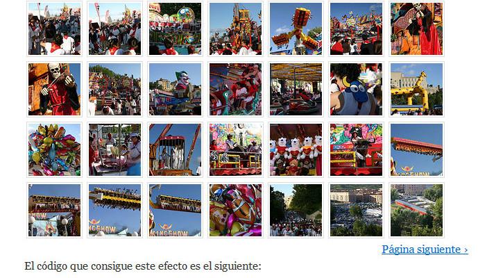 Figura 3 - Galería de un álbum de fotos de Flickr
