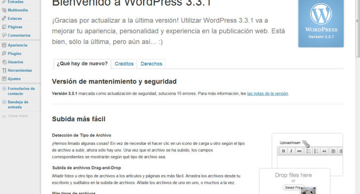 Actualización a WordPress 3.3.1