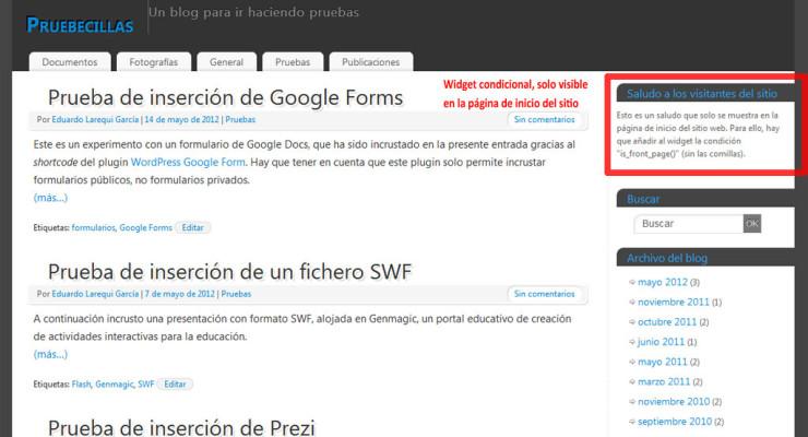 Figura 2 - El widget definido para la página de inicio del sitio
