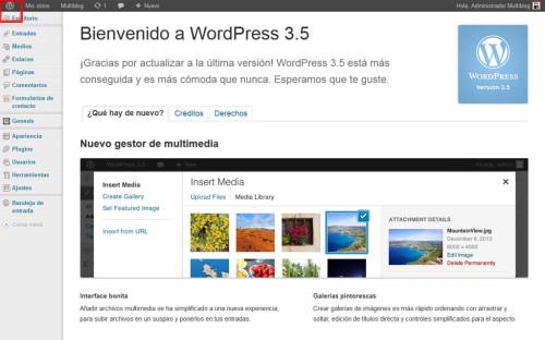 Cambios de la versión 3.5 de WordPress