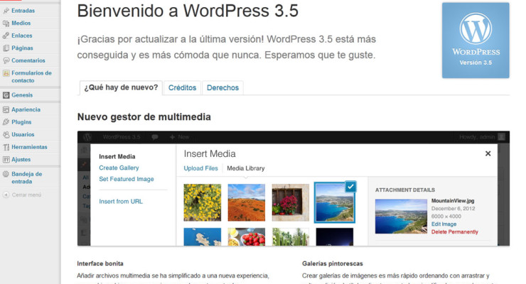Actualización a WordPress 3.5