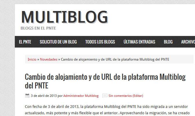 Cambio de alojamiento y de URL de la plataforma Multiblog del PNTE