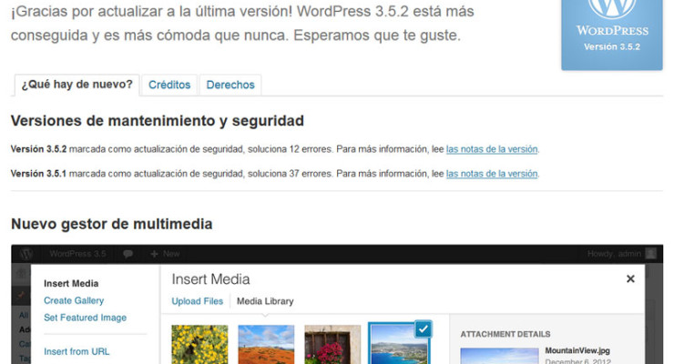 Bienvenidos a WordPress 3.5.2
