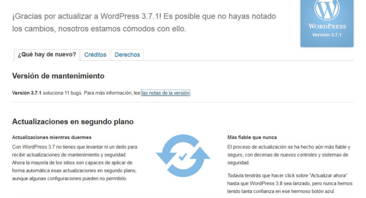 Página de bienvenida a la versión 3.7.1. de WordPress