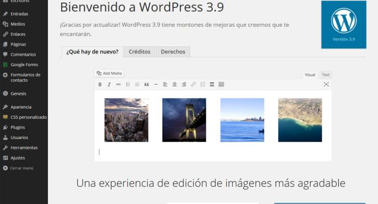 Página de bienvenida de WordPress 3.9