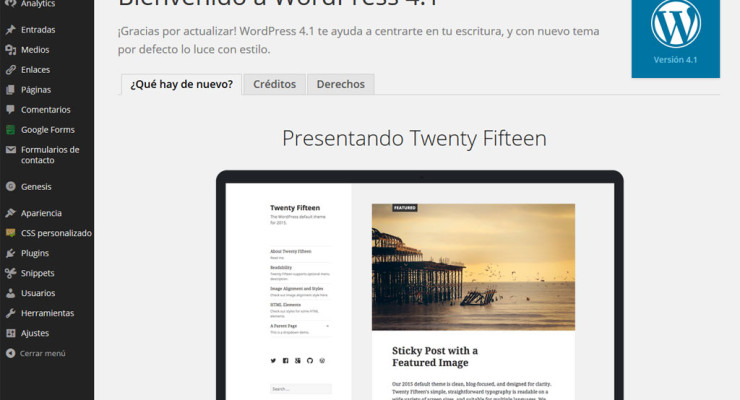 Actualización a WordPress 4.1