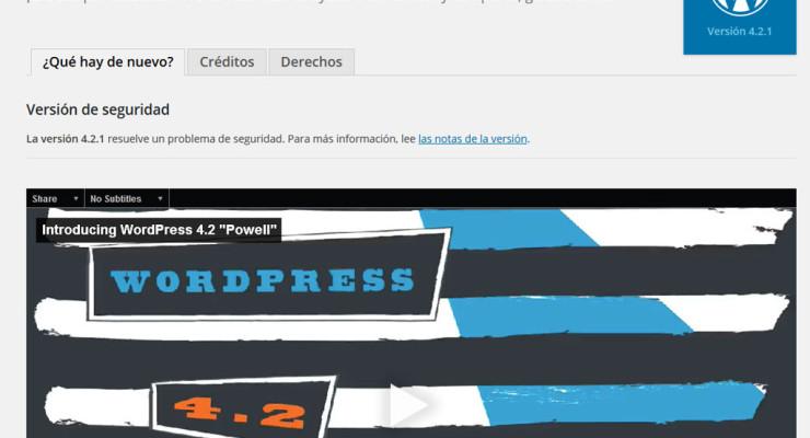 Pantalla de bienvenida de WordPress 4.2.1