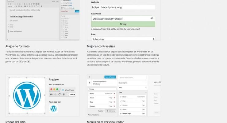 Pantalla de bienvenida de WordPress 4.3