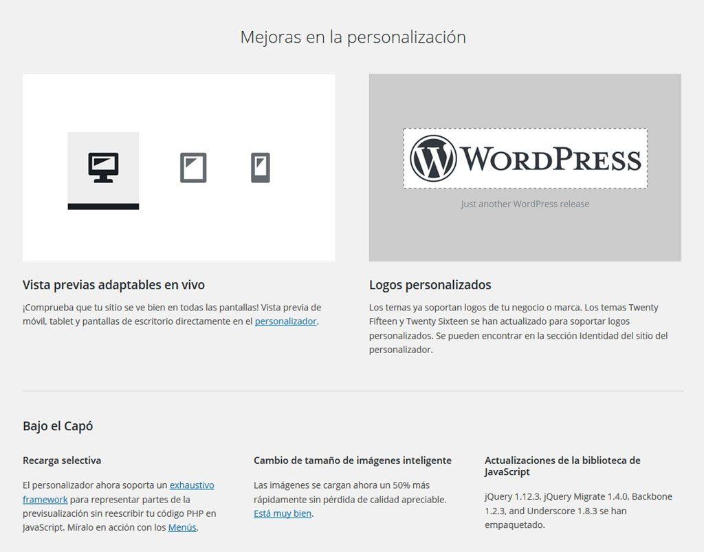 Novedades de la versión 4.5 de WordPress