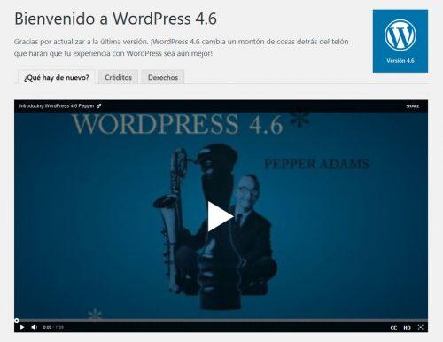 Pantalla de bienvenida a WordPress 4.6