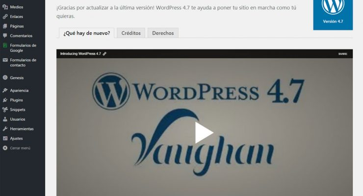 Actualización a WordPress 4.7