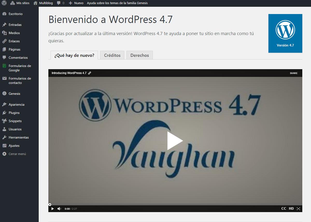 Página de presentación de las novedades de WordPress 4.7