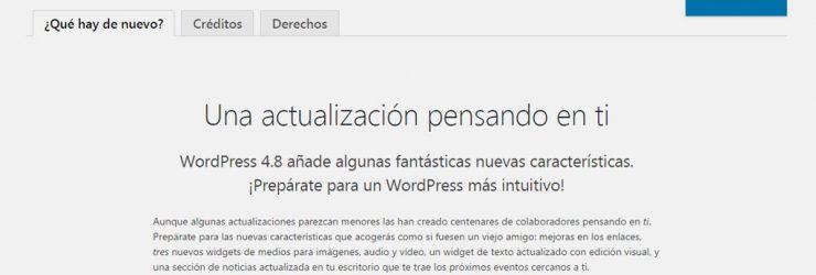 Actualización a WordPress 4.8