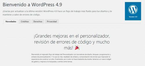 Novedades de la versión 4.9 de WordPress